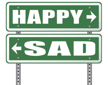 verdrietig of blij vreugde en geluk tegen verdriet en slecht gevoel emoties geen spijt goede vibraties, denk positief en optimistisch
