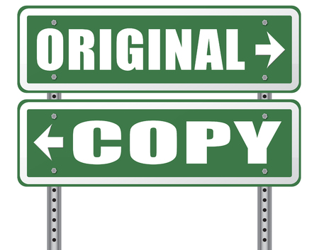 copycat: original idea or copycat cheap and bad copy or unique top quality product guaranteed road sign Stock Photo