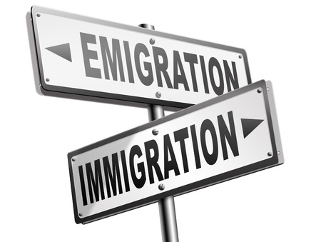 illegal immigrant: immigration or emigration political or economic migration by refugees or moving across the border by economic migrants sign