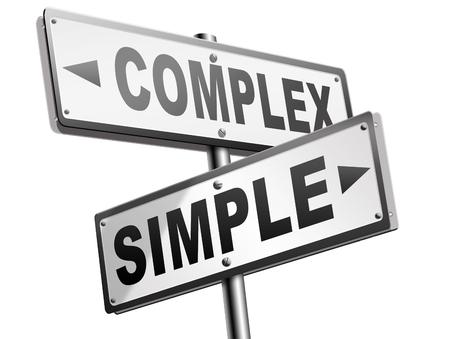 sencillez: simple o compleja mantenerlo fácil o simplificar resolver problemas difíciles con sencillez o solución compleja dificultad