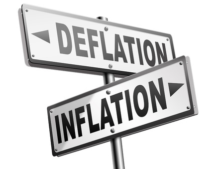 deflation: inflation deflation bank crisis or financial and economic recession or stock market crash or rise sign