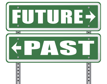 innovation word: past future prediction and forecast near future fortune telling and forecast evolution and progress and innovations Stock Photo