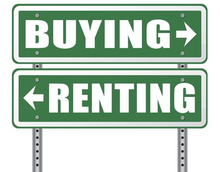 home ownership: rent or buy mortgage for bank loan for home ownership renting or buying a house a flat building or property road sign arrow