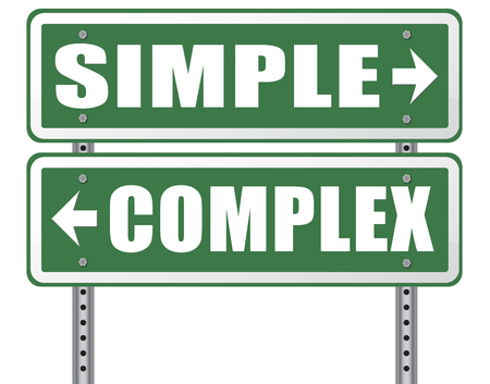 hard way: complex or simple the easy or the hard way decisive choice challenge making choice complicated road sign arrow