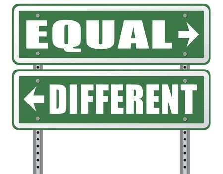 equal opportunity: equal or different equality in rights and opportunity for all no discrimination or racism embrace diversity Stock Photo