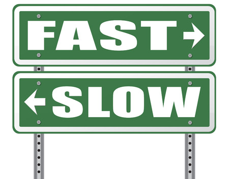 slow lane: fast or slow pace, lane or living faster or slower speed stop rat race and adapt to slower lifestyle take your time do it easy road sign arrow