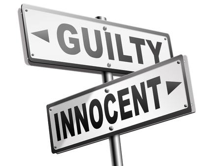 fair trial: innocent or guilty presumption of innocence until proven guilt as charged in a fair trial for crime suspect