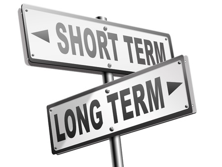 long term short term strategy planning or thinking plan and think ahead for the near and far future 免版税图像