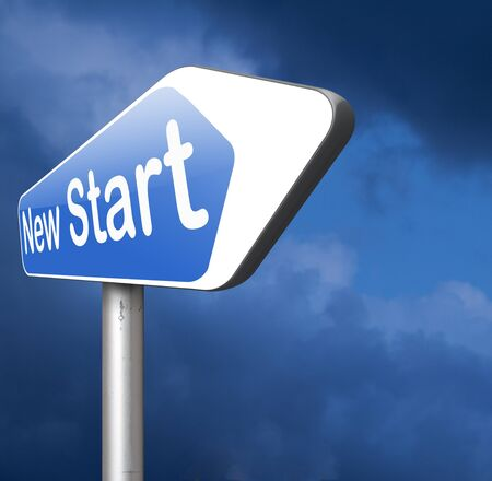 new start: new start or opportunity back dto the beginning and play it again Stock Photo