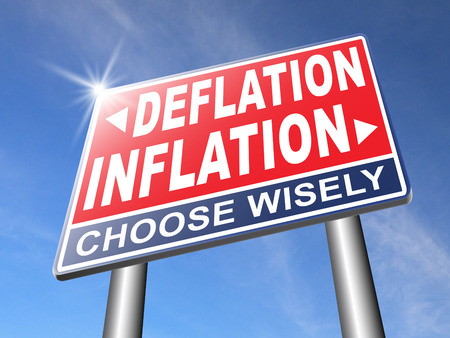 deflation: inflation deflation bank crisis or financial and economic recession or stock market crash or rise road sign arrow Stock Photo