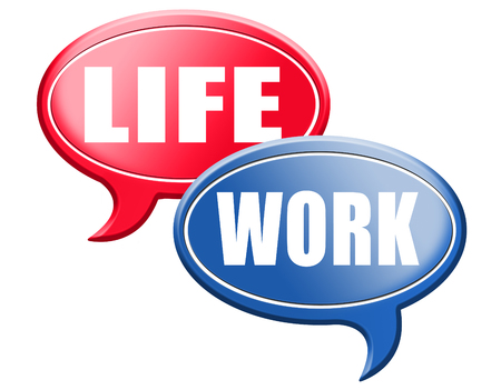 health choice: work life balance importance of career versus family leisure time and friends avoid burnout mental health stress test road sign arrow