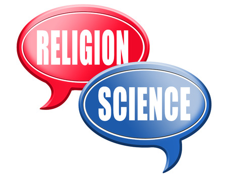 darwinism: science religion intelligent design or Darwinism relationship between belief in God faith and reality evidence and proof evolution or creationism road sign arrow Stock Photo
