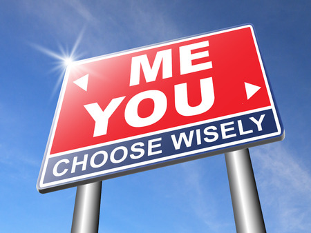 about you: choosing between me and you, your or my opinion mariage crisis or differences leading to divorce and separation having different or separate interests and opinions road sign arrow