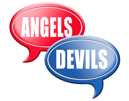 bad angel: devil and angel good or evil bad heaven and hell road sign arrow Stock Photo