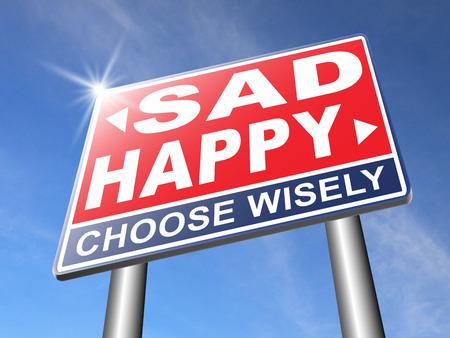 Verdrietig of blij vreugde en geluk tegen verdriet en slecht gevoel emoties geen spijt goede vibraties, denk positief en optimistisch Stockfoto - 44525926