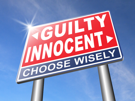 the innocence: innocent or guilty presumption of innocence until proven guilt as charged in a fair trial for crime suspect