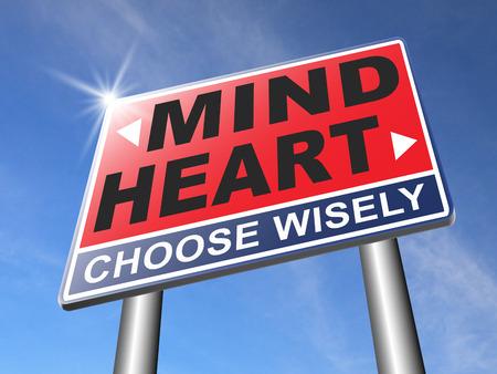 hart over mind volg je instinct en darmen gevoel of intuïtie inzicht Stockfoto