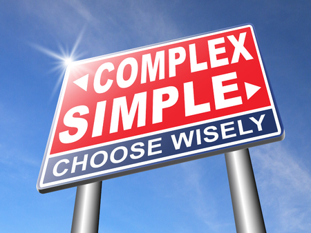 hard way: complex or simple the easy or the hard way decisive choice challenge making comlicated choice simplicity or complexity road sign arrow