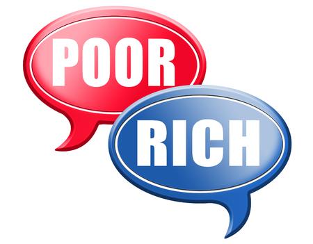 mala suerte: rico o rica o pobre pobreza tomar riesgo financiero directo en la riqueza buena o mala suerte y la fortuna carretera signo flecha