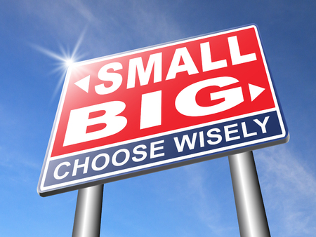 big deal: big small size matters no deal or issue Stock Photo