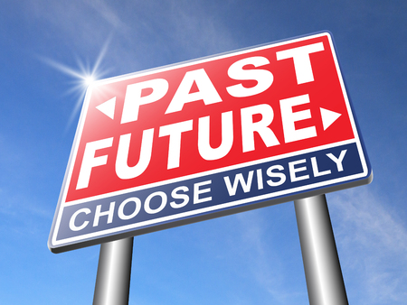 bright future: past future prediction and forecast near bright future fortune telling and forecast evolution and progress and innovations Stock Photo