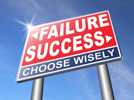 signos vitales: �xito o el fracaso de tener �xito en la vida y los negocios importante y decisiva elecci�n se�al de tr�fico flecha