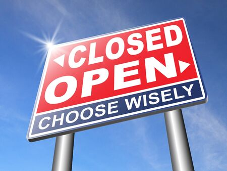 closing time: open or close opening hours or closing time start of new season or beginning no access and file or case closed Stock Photo