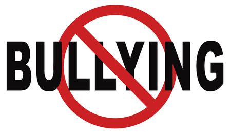 stop bullying prevention for no bullies at school work or in the cyber internet Standard-Bild