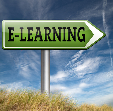 elearning: e-learning online education internet learning in open school or university elearning road sign Stock Photo