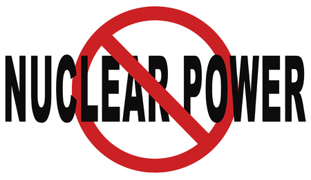 nuclear power: no nuclear power stop radiactivity radio active waste from nuclear power plant danger of radiation and risk of contamination by gamma radiation Stock Photo