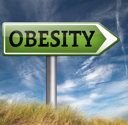 over weight: obesity and over weight diet road sign Stock Photo
