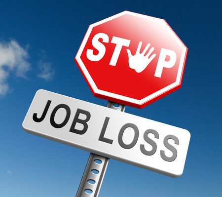 job loss: job loss and unemployment getting fired employment rate Layoff and Downsizing Stock Photo