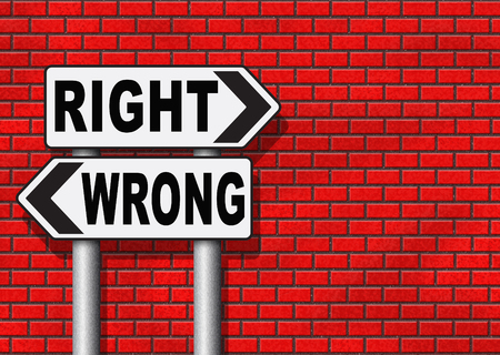 wrong way sign: right wrong answer decision morally good or bad moral dilemma difficult choice or quiz and exam results choose your way road sign arrow Stock Photo