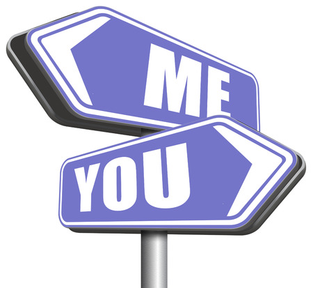 separation: choosing between me and you, your or my opinion mariage crisis or differences leading to divorce and separation having different or separate interests and opinions Stock Photo