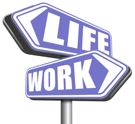 burnout: work life balance importance of career versus family leisure time and friends avoid burnout mental health stress test road sign arrow