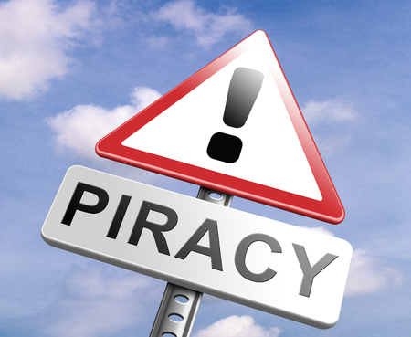 intellectual property: piracy stop illegal download of movies and music and illegal copying copyright and intellectual property protection protect copy of trademark brand Stock Photo