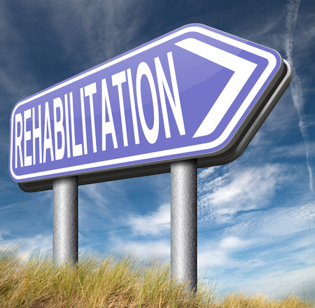 alcohol addiction: rehabilitation rehab for drugs alcohol addiction or sport and accident injury physical or mental therapy Stock Photo