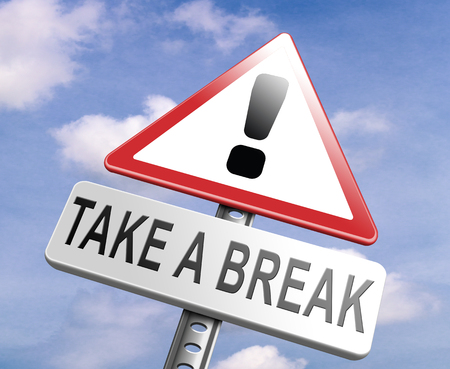 day break: take a break for lunch coffee or take a a vacation or leisure day off to rest