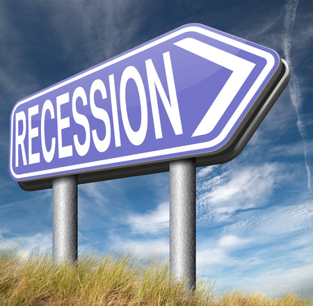 global economic crisis: global economic recession crisis bank and stock crash economy and financial bank recession market crash road sign
