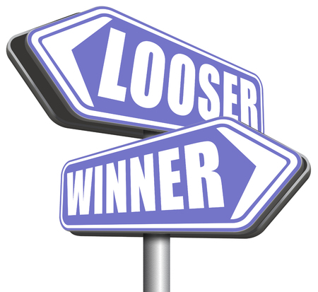 bad fortune: winner looser win or loose the sports game or competition start winning and stop being a looser change your luck sign lottery bingo or casino victory Stock Photo