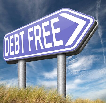 financial freedom: debt free zone or tax reduction today relief of taxes having good credit financial success paying debts for financial freedom road sign arrow