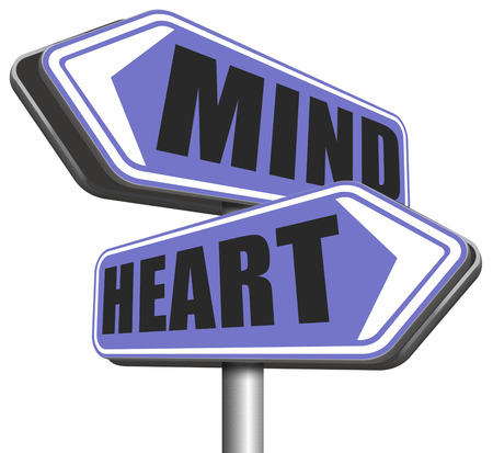 gut: heart over mind follow your instinct and gut feeling or intuition insight