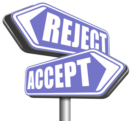 approvement: accept reject approve or decline and refuse offer proposal or invitation, yes or no Stock Photo
