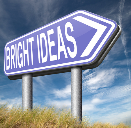 great idea: bright ideas road sign brilliant great idea new innovation or invention eureka creative solution or discovery