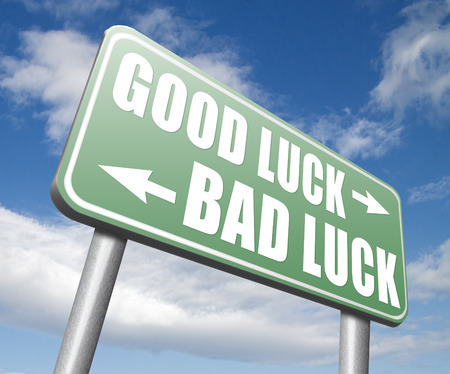 bad fortune: change of luck good or bad, unlucky misfortune or good fortune Stock Photo