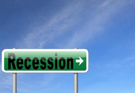 recession: Recession crisis bank and stock crash economic and financial bank recession market crash, road sign billboard.