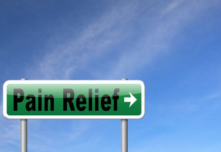 painkiller: Pain relief or management by painkiller or other treatment of chronic back pain, road sign billboard. Stock Photo