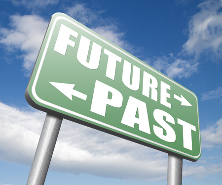 fortune telling: past future predictions and forecast near future fortune telling and forecast evolution and progress road sign