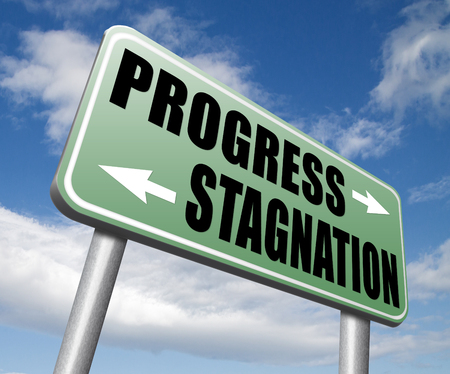 stagnation: progress or stagnation innovation or stand still and no market or economy and business growth
