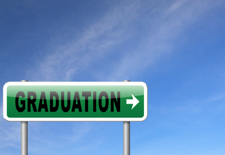 postgraduate: Graduation day at college high school or university, road sign billboard.